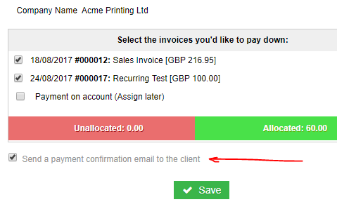 Payment notification emails payments quickfile the paidinvoicelist token in your email template is used to list out the invoices that were paid down from the incoming payment pronofoot35fo Gallery