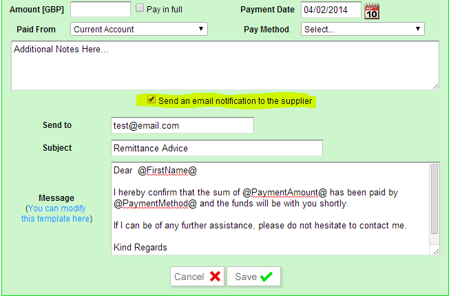 Print supplier payment - remittance advice - Implemented