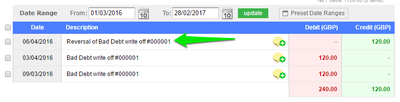 How can I edit the date of a bad debt? - support - QuickFile