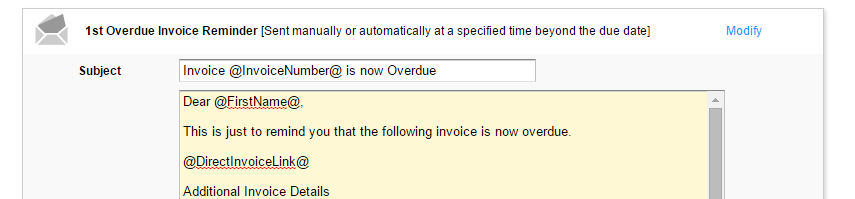 Show Amount Owing Balance On Reminder Emails Implemented - Overdue invoice reminder email