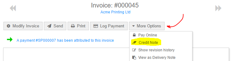 credit note partially paid invoice support quickfile