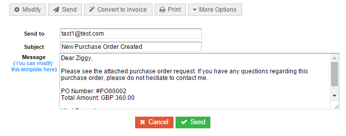 QuickFile Will Use A Templated E Mail For New Purchase Orders. You Will See  A Preview That Can Be Edited Directly, You Will Also Find A Link Where You  Can ...  Format Purchase Order