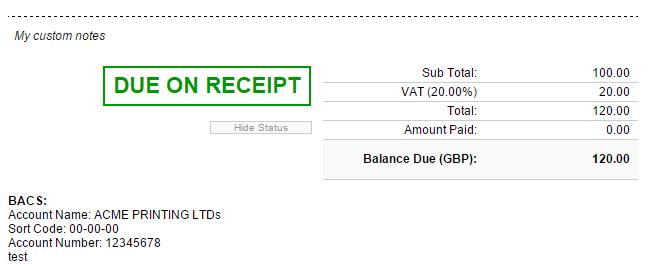 invoice due on receipt