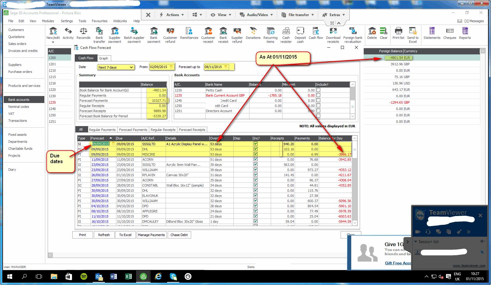 Cashflow Forecast Report Under Consideration Quickfile