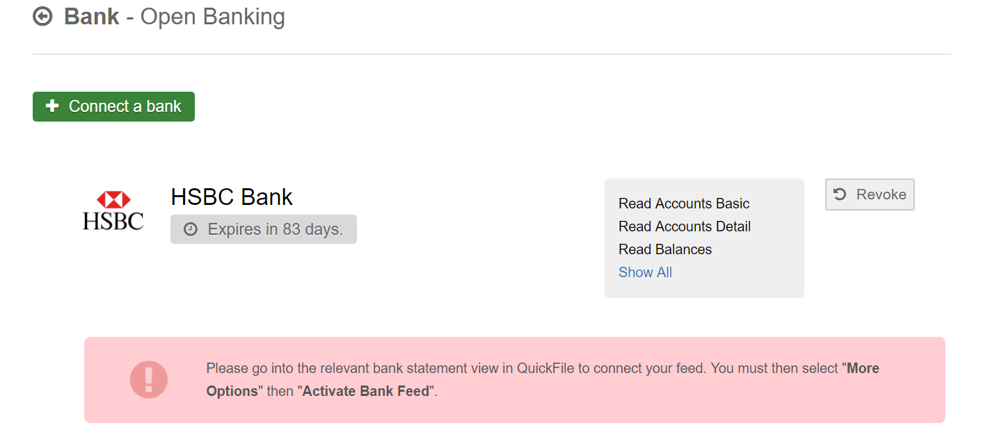 HSBC Yodlee Bank Feed Not Updating - Bank Feeds - QuickFile